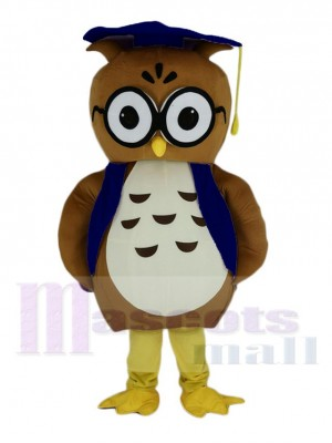 Brown Doctor Owl with Blue Hat Mascot Costume