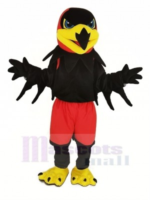 Black Night Hawk with Red Pants Mascot Costume