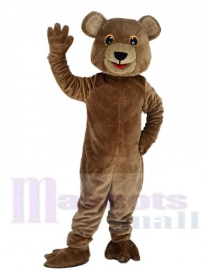 Cute Brown Bear with Black Eyes Mascot Costume