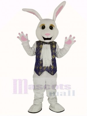 Easter White Rabbit in Blue Vest Mascot Costume