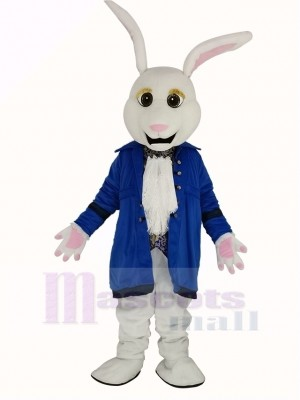 Easter White Rabbit in Blue Coat Mascot Costume