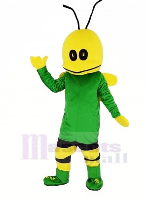 Green Bee Mascot Costume Cartoon