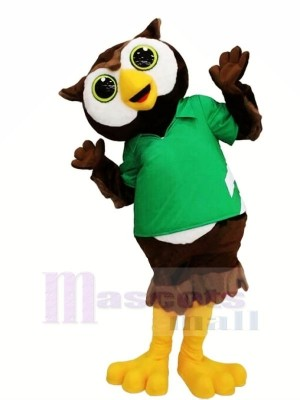 Lovely Owl with Green T-shirt Mascot Costumes