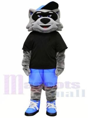 Cool Raccoon with Black T-shirt Mascot Costumes Animal