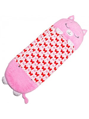 Happy Nappers Pillow & Sleepy Sack 2 in 1 Kids Foldable Sleeping Bag with Pillow Cartoon Animals Pink Kitty