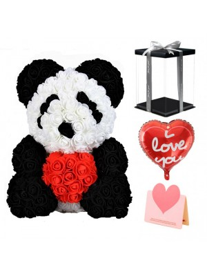 Panda Rose Bear with Red Heart Best Gift for Mother's Day, Valentine's Day, Anniversary, Weddings and Birthday