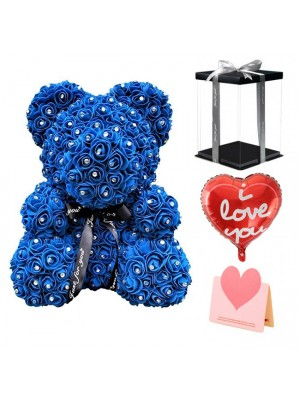 Diamond Royal Blue Rose Teddy Bear Flower Bear Best Gift for Mother's Day,Valentine's Day,Anniversary, Weddings and Birthday