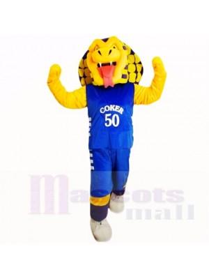 Sports Cobra Snake with Blue Shirt Mascot Costumes Cartoon