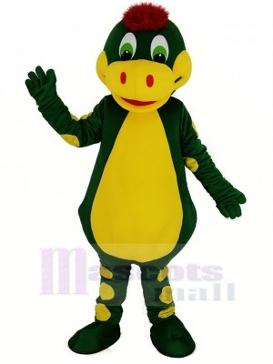 Green Dinosaur with Yellow Belly Mascot Costume Animal