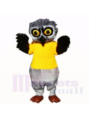 Grey Furry Owl with Yellow Shirt Mascot Costumes School