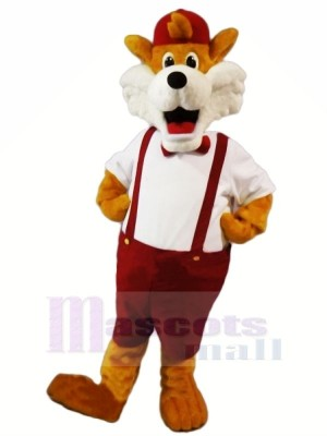 Funny Fox with Red Hat Mascot Costumes Cartoon