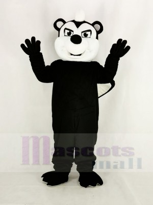 Realistic Black Stinky Skunk Mascot Costume Cartoon