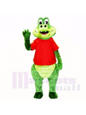 Friendly Crocodile with Red Shirt Mascot Costumes Cartoon