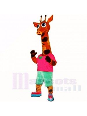 Sport Lightweight Giraffe with Red Shirt Mascot Costumes Cartoon