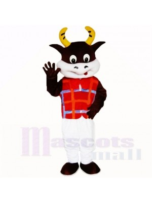 Friendly Lightweight Cow with Red Shirt Mascot Costumes School
