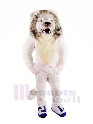 Fierce White Lion Mascot Costumes Adult