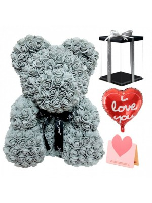Grey Rose Teddy Bear Flower Bear with Balloon, Greeting Card & Gift Box for Mothers Day, Valentines Day, Anniversary, Weddings & Birthday
