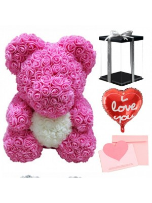 Pink Rose Teddy Bear Flower Bear with White Heart with Balloon, Greeting Card & Gift Box for Mothers Day, Valentines Day, Anniversary, Weddings & Birthday