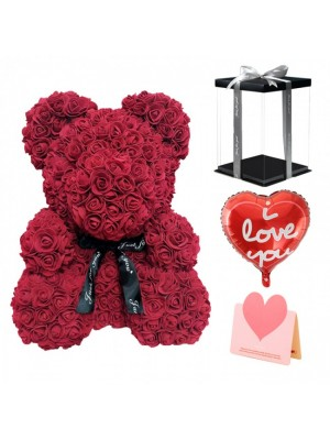 Burgundy Rose Teddy Bear Flower Bear with Balloon, Gree ting Card & Gift Box for Mothers Day, Valentines Day, Anniversary, Weddings & Birthday