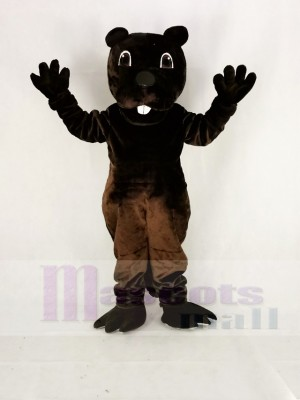 Funny Brown Barney Beaver Mascot Costume Cartoon