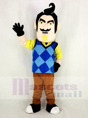 Mr. Peterson with Blue Vest The Neighbor from Hello Neighbor Man Mascot Costume Cartoon