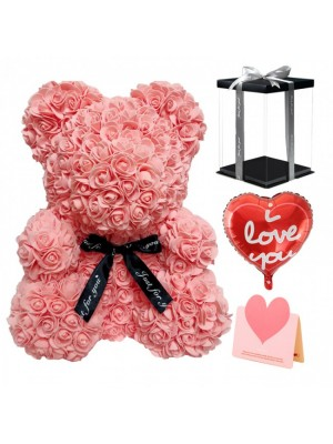 Pink Red Rose Teddy Bear Flower Bear with Balloon, Greeting Card & Gift Box for Mothers Day, Valentines Day, Anniversary, Weddings & Birthday
