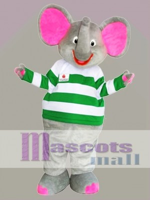 Gray Elephant Mascot Costume with Pink Ears Cartoon