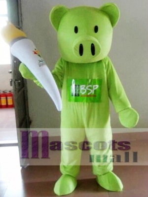 Green Pig Mascot Costume Adult Costume