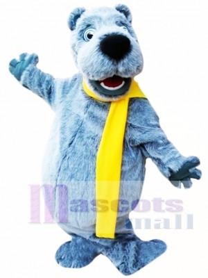 Happy Grey Bear Mascot Costume
