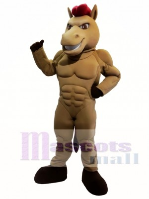 Power Brown Horse Mascot Costume