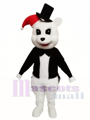 Animal White Bear With Black Jacket Chirstmas Mascot Costume