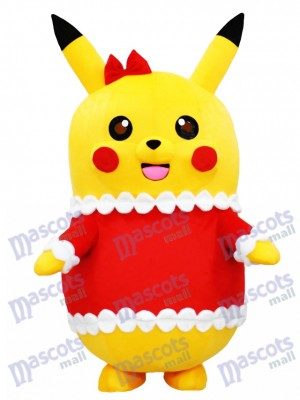Pikachu Pokemon Pokémon Go Mascot Costume in Christmas Outfit with Red Bow