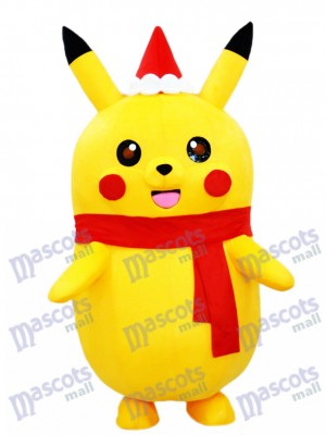 Pikachu Pokemon Pokémon Go Mascot Costume with Christmas Hat and Red Scarf