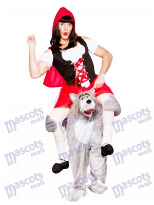 Adults Carry Me Wolf With Little Red Riding Hood Mascot Costume Fancy Dress Halloween Outfit
