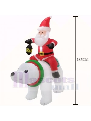 6ft Inflatable Santa Clause Riding Polar Bear with Lantern Light Christmas Holiday Decoration Outdoor Yard Lawn Art Decor