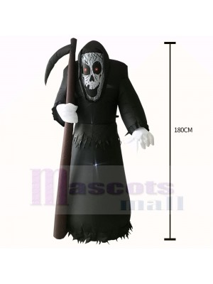 6ft Inflatable Grim Reaper with Scythe Prop Sickle Death Decoration Halloween Holiday Outdoor Yard Lawn Art Decor