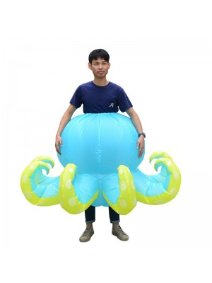Blue Octopus Squid Inflatable Costume Halloween Christmas Costume for Adult
