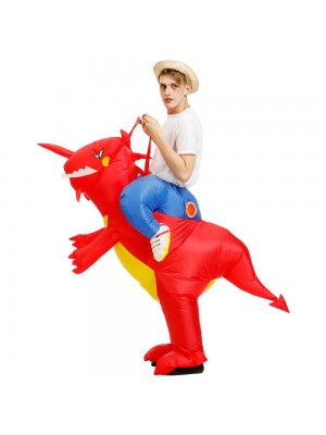 Dinosaur Ride on Inflatable Costume Blow up Costume for Adult/Child Red