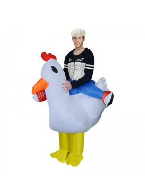 White Chicken Carry me Ride on Inflatable Costume Fancy Dress Cosplay Costume for Adult