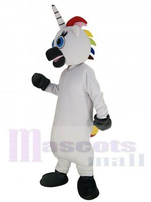 White Unicorn Mascot Costume Cartoon with Blue Eyes