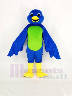 Blue Bird with Green Belly Mascot Costume Cartoon