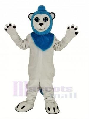 White Lion Blue Haired Mascot Costume Animal