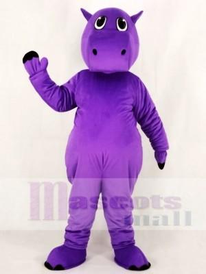 Cute Purple Hippo Mascot Costume School