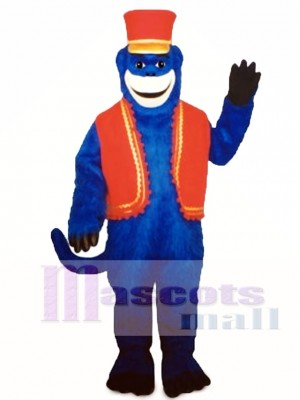 Blue Monkey with Vest & Hat Mascot Costume Animal