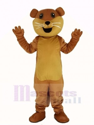 Brown Ollie Otter with White Beard Mascot Costume Animal