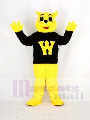 Yellow Wildcat in Black Mascot Costume Cartoon