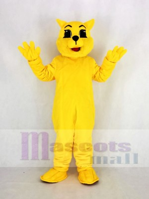 Yellow Wildcat Mascot Costume Cartoon