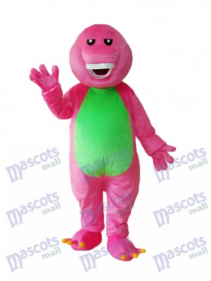 Pink Barney Adult Mascot Costume Cartoon Anime