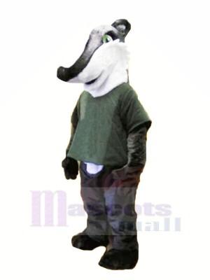 Gray Shirt Badger Mascot Costume Animal