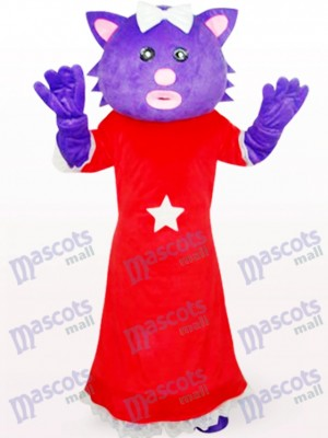 Red Dress Female Purple Bear Anime Mascot Costume